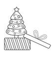 merry christmas pine tree design vector image