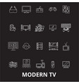 modern tv editable line icons set on black vector image