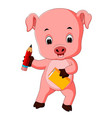 pig holding book and pencil vector image vector image