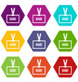 plastic name badge with neck strap icon set color vector image vector image