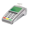 POS terminal with printed reciept on white vector image vector image
