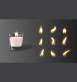 realistic wax candle in glass with set flames vector image