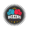 retro emblem for boxing with gloves vector image vector image