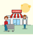 saleswoman and customer man front supermarket with vector image vector image