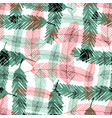 seamless pattern with green and red fir tree vector image vector image