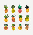 set of cute sunny pineapples hand drawn vector image vector image