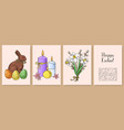 set of hand drawn easter gift cards vector image vector image