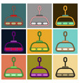 set of icons in flat design cabin ski lift vector image vector image