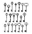 Silhouettes of Vintage Keys vector image vector image