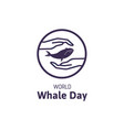 simple logo with text world whale day vector image vector image