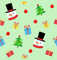 snow man with gift seamless pattern cute vector image