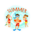 summer hobbies snorkelling and diving hob vector image