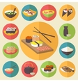Sushi Japanese cuisine food icons set flat design vector image vector image