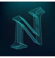 The letter N Polygonal letter Low poly model vector image