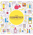 thin line makeup tools modern concept vector image
