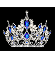 Tiara crown womens wedding with a blue stone vector | Price: 1 Credit (USD $1)