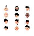 twelve characters of flat design vector image vector image