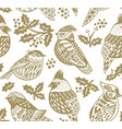 winter seamless pattern with decorative birds in vector image