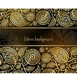 Ethnic background in gold and black colors vector image