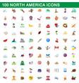 100 north america icons set cartoon style vector image