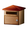 a wooden mailbox with lock vector image vector image