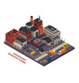 abandoned manufacturing isometric composition vector image vector image
