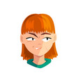 angry redhead girl female emotional face avatar vector image vector image