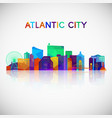 atlantic city skyline silhouette in colorful vector image vector image