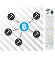 bitcoin mining pool flat icon with bonus vector image vector image