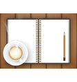 Blank notebook with coffee cup on table vector image