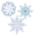 Blue abstract snowflakes vector image vector image