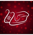 Calligraphic winter sledge on shine red background vector image vector image