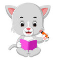 cat holding book and pencil vector image vector image