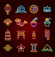 chinese neon icons vector image vector image