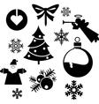 christmas balls christmas tree silhouette set vector image