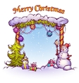 Christmas Gate with snowman ant fir-tree vector image vector image