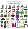color set of hand-drawn womens accessories vector image