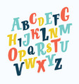 colorful stylized font and alphabet vector image