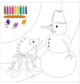 Coloring page with hedgehog and snowman vector image