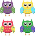 cute cartoon owls icons bright owls vector image