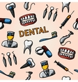 Dental handdrawn pattern with - tooth jaw vector image vector image