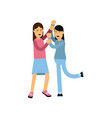 flat cartoon characters of two mad women fighting vector image
