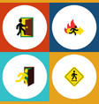 flat icon exit set of fire exit open door vector image