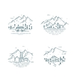 Flat line travel concept set vector image vector image