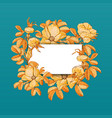 floral picture frame with drawn rose hips and vector image