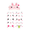 funny kawaii style rabbit emoticon icon set vector image vector image