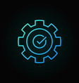 gear with check mark blue outline icon vector image