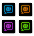 glowing neon hashtag speech bubble icon isolated vector image vector image