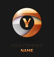 golden letter y logo in the golden-silver circle vector image