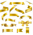 Golden Web Ribbons Set vector image